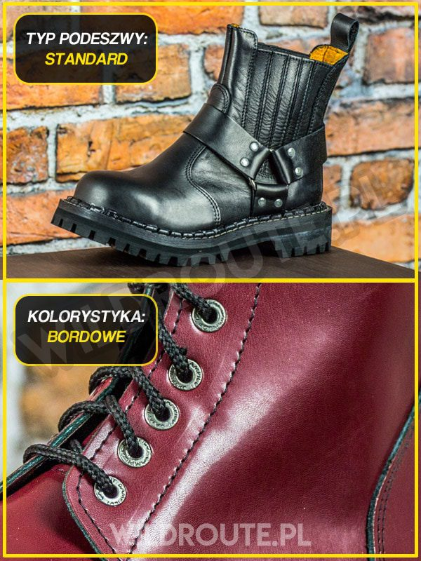 "Buty na choppera WILDROUTE ""V2"" BORDOWE"